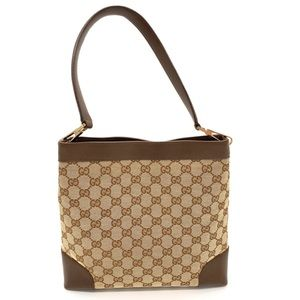 Gucci GG Monogram Brown Leather Canvas Bag